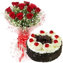 10 Red roses N Black Forest Cake