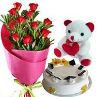 Flowers Cake Teddy Combo-online flower delivery in Delhi
