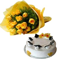 12 Yellow Roses and Cake