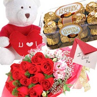 Rose, rocher n teddy combo