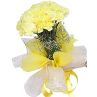 Flowers Bouquet of 12 Yellow Carnation
