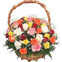 Basket of 15 Assorted Roses
