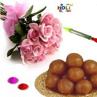12 pink roses bouquet with sweets N free Gulal N Water Gun