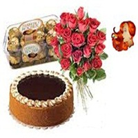24 red roses bouquet with cake N 16 pcs ferrero roucher chocolate box