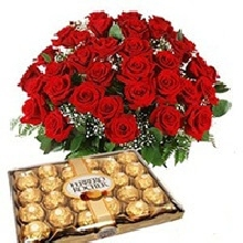 35 Red Roses with chocolates