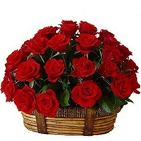 Basket of 30 Red Roses