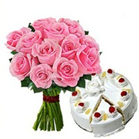 12 Pink Roses with Pineapple Cake - Valentine Day Gifts to India