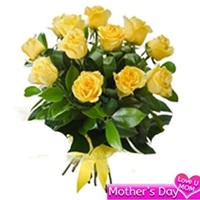 Flowers Bouquet of 12 yellow roses