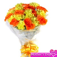 Flowers Bouquet of yellow carnations and orange roses