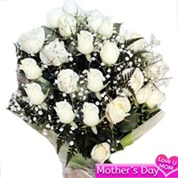 Flowers Bouquet of 20 white roses