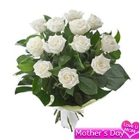 Flowers Bouquet of 12 white roses to India
