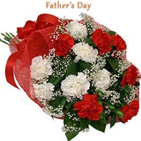 Flowers Bouquet of 12 red and white carnations