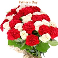Flowers Bouquet of red carnations and white roses