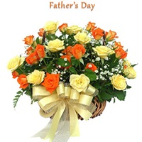 24 orange and yellow rose basket