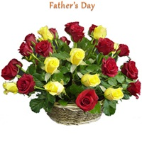 25 red and yellow rose basket