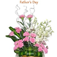 Carnation and orchid basket
