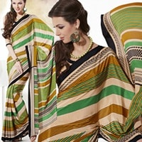 Cream Stript saree with designer freen and Yellow strip7822