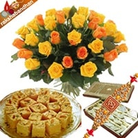 Rakshabandhan Special Flowers and Sweets Combo