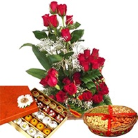 Janmashtami Wishes with Flowers Dryfruits and Sweets