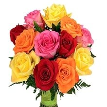 Flowers Bouquet of Yellow Red Roses