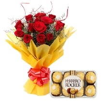 Roses with Ferrero Rocher box