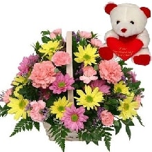 V Day - 20 Gerberas N Carnations Basket N 6 Inch Teddy