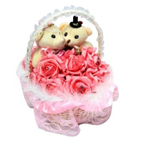 Love Teddy Bear Couple Flower Basket