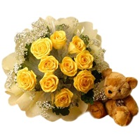12 yellow Roses with Teddy Bear