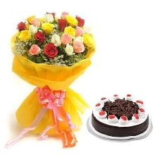 10 Mix roses N Black Forest cake