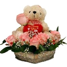 Basket of 12 Pink Roses with teddy