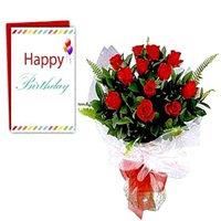 Flowers Bouquet of 10 Red Roses with Card