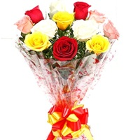 Flowers Bouquet of Red White Yellow Roses