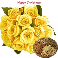 Yellow Roses with Dryfruits on X-Mas
