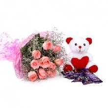 V Day - 18 Red Roses Bakset with Chocolates N Teddy