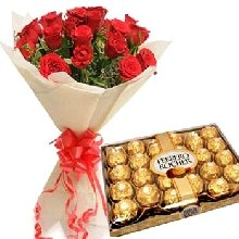 12 Red Roses Flowers Bouquet with 24 Pcs Ferrero Chocolates