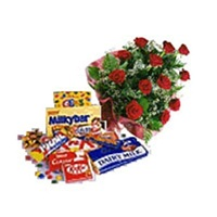 Flowers Roses with Chocolates-Banglore bouquets delivery