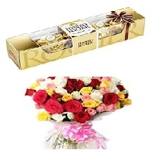 12 Mix Roses with 5 Piece Ferrero Chocolates