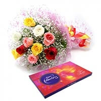 Boquet 10 Mix Roses N Cadbury Celebration
